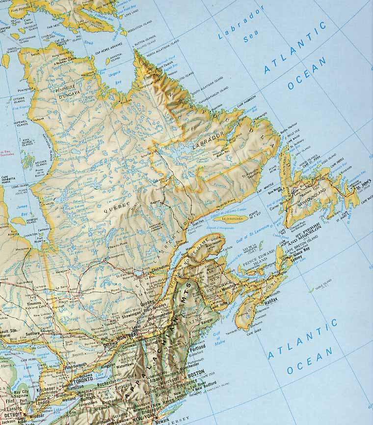 canada east coast map