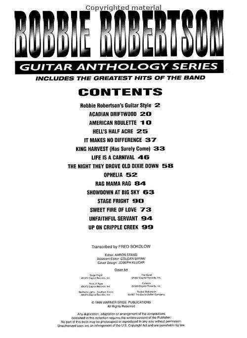 Sheet Music: Robbie Robertson